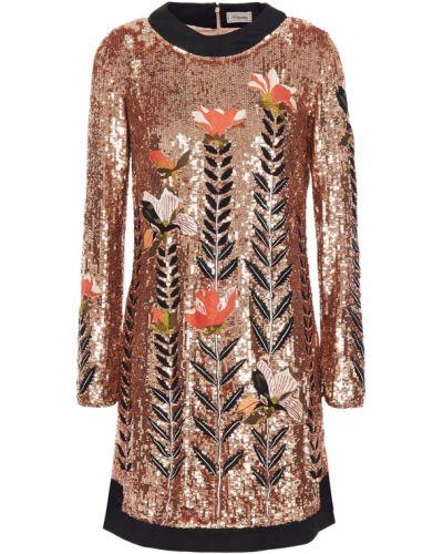 Платье мини с пайетками из фатина золотое Temperley London