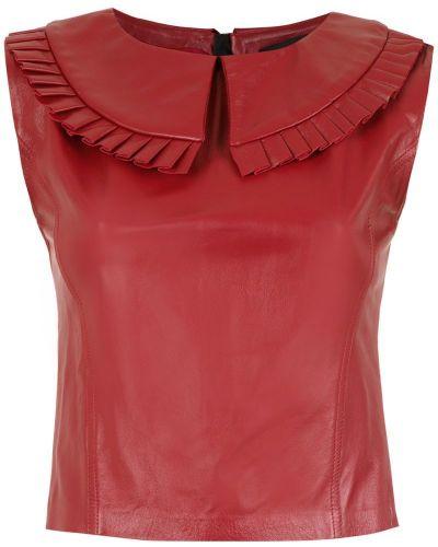 Блузка без рукавов на молнии кожаная Andrea Bogosian