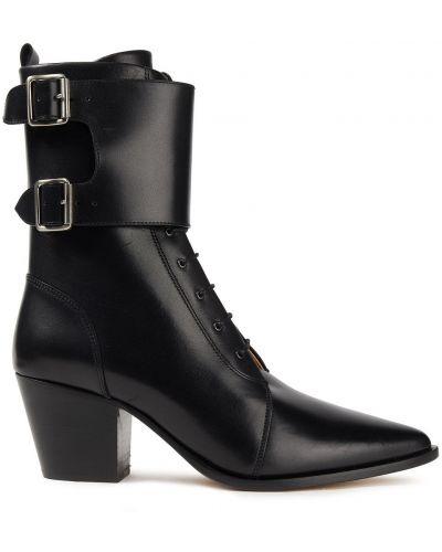 Czarne ankle boots skorzane koronkowe Iro