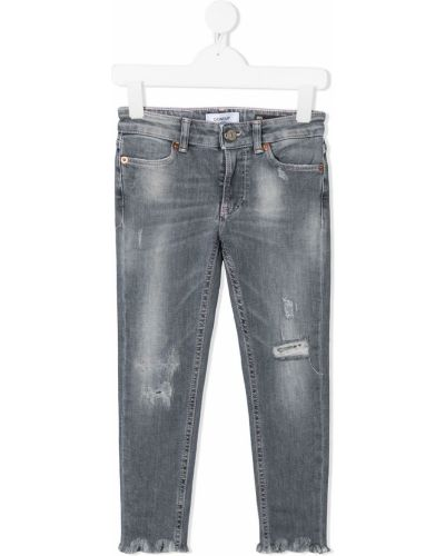 Хлопковые классические серые джинсы-скинни на молнии Dondup Kids