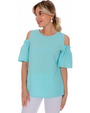 Свободная шифоновая блузка с открытыми плечами мятная свободного кроя Nikol