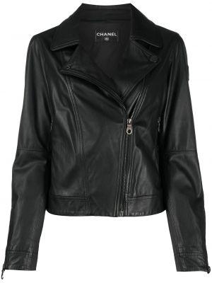 Черная кожаная короткая куртка на молнии Chanel Pre-owned