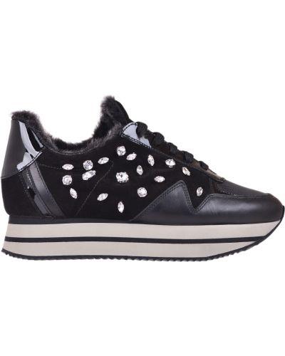 Кроссовки на платформе с мехом замшевые Pertini
