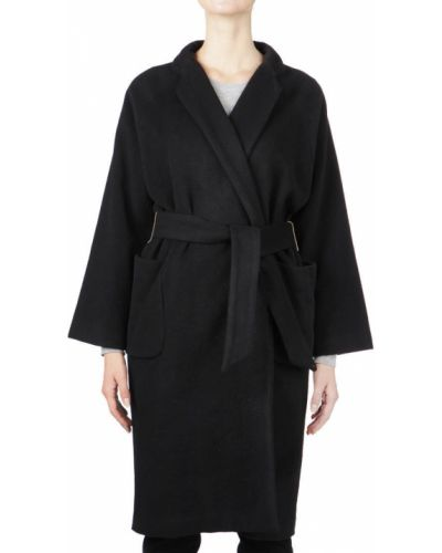 Шерстяное пальто - черное Elisabetta Franchi