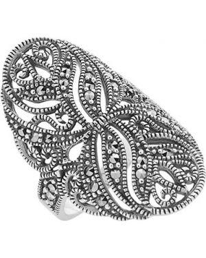 Кольцо из серебра черный марказит