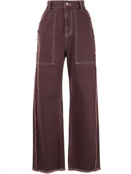 Фиолетовые прямые джинсы с карманами с бахромой на пуговицах G.v.g.v.