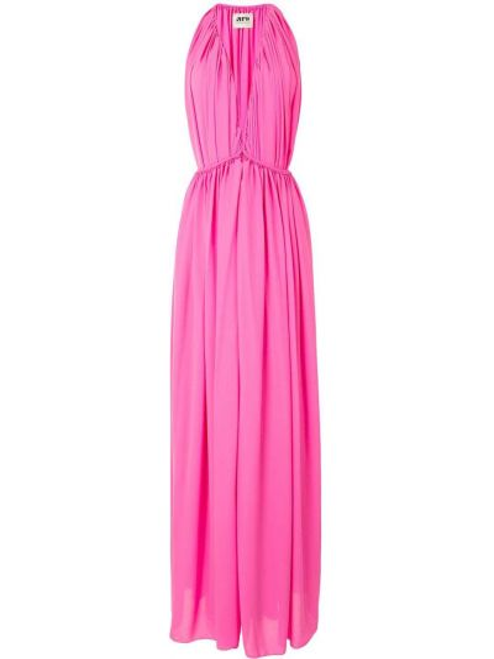 Розовое платье со сборками Maison Rabih Kayrouz