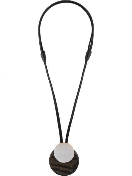 Czarny naszyjnik perły skórzany Monies