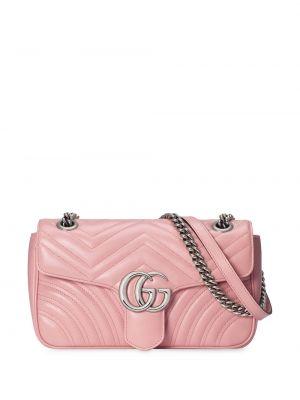 Розовая сумка на цепочке на молнии с карманами из микрофибры Gucci