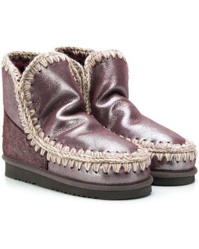 Вязаные фиолетовые ботинки Mou Kids