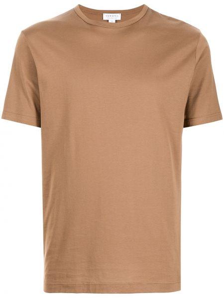 Коричневая хлопковая футболка Sunspel