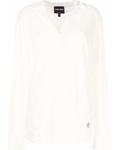 Белая рубашка с длинными рукавами с воротником Giorgio Armani