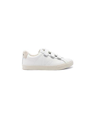 Кожаные белые кожаные кроссовки на липучках Veja
