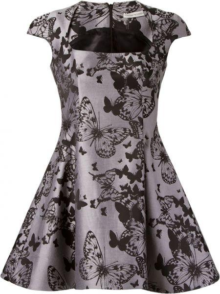 Черное расклешенное платье квадратное жаккардовое Martha Medeiros