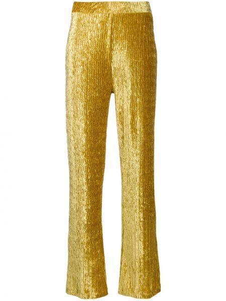 Горчичные расклешенные брюки на резинке Frenken