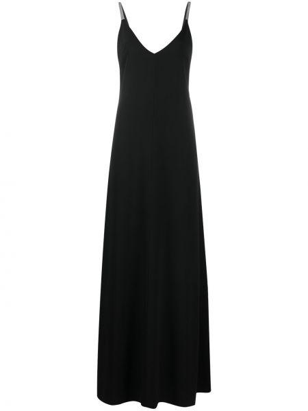Шелковое черное платье макси с открытой спиной Brunello Cucinelli