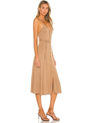 Sukienka bawełniana casual camel Lpa