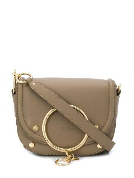 Skórzana torebka średnia z łatami See By Chloe