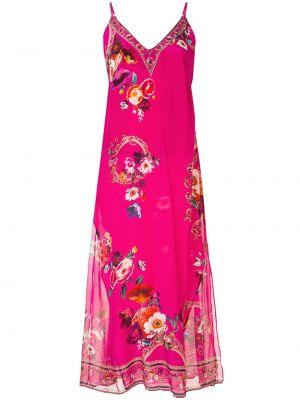 Jedwab chudy różowy sukienka midi na paskach Camilla