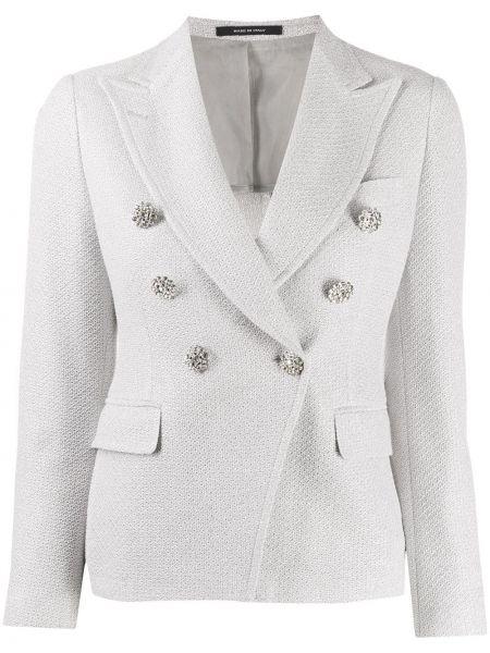Серебряная куртка с лацканами металлическая с карманами Tagliatore
