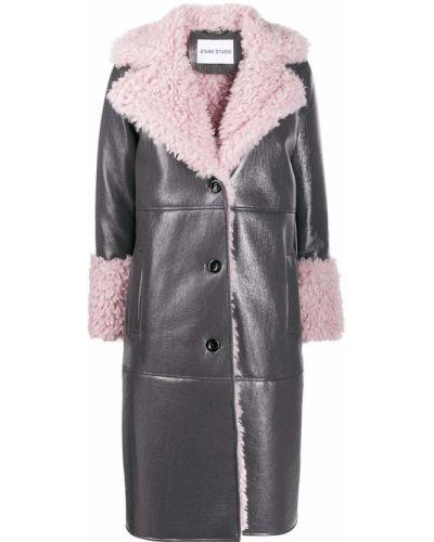 Коралловое кожаное длинное пальто с воротником Stand