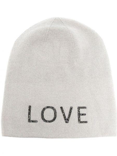 Серая кашемировая теплая шапка бини без застежки Warm-me