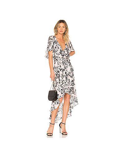 Платье с поясом шелковое с оборками Parker