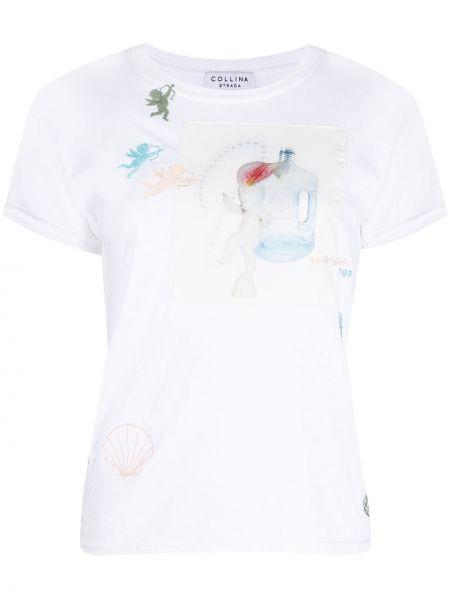 Koszula z krótkim rękawem biała z haftem Collina Strada