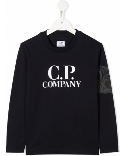Прямая черная футболка на молнии с круглым вырезом Cp Company Kids