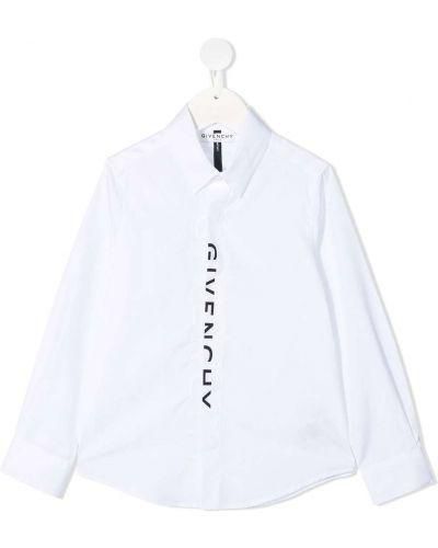 Белая классическая рубашка с воротником с длинными рукавами Givenchy Kids