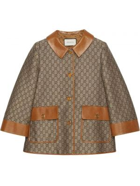 Кожаная куртка с воротником с карманами Gucci