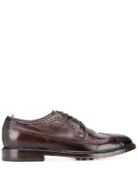 Ażurowy brązowy buty brogsy z prawdziwej skóry zasznurować Officine Creative