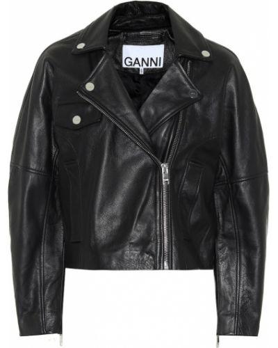 Черная кожаная куртка байкерская из натуральной кожи Ganni