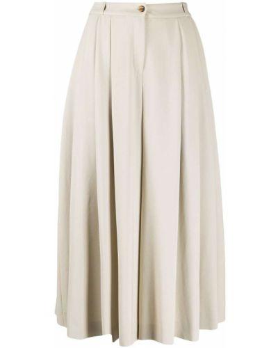 Biały pofałdowany jedwab spodnie culotte wysoki wzrost Michael Kors Collection