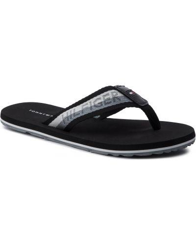 Skórzany plaża czarny skórzany sandały Tommy Hilfiger