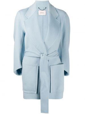 Niebieski długi płaszcz wełniany z długimi rękawami Dorothee Schumacher