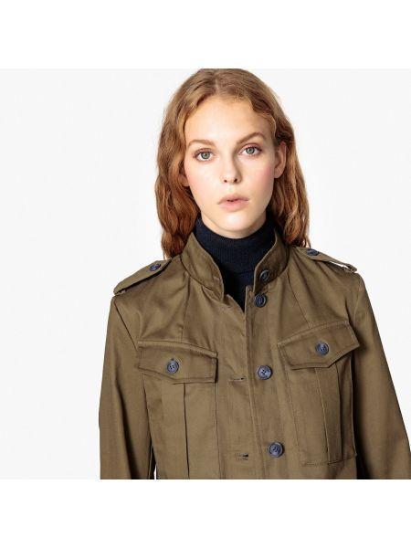 Длинная куртка милитари прямая La Redoute