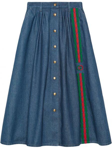 Юбка миди джинсовая с карманами Gucci