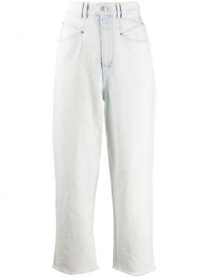 Прямые синие укороченные джинсы с высокой посадкой Isabel Marant