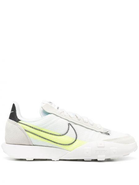 Włókienniczy biały sneakersy z łatami na sznurowadłach Nike