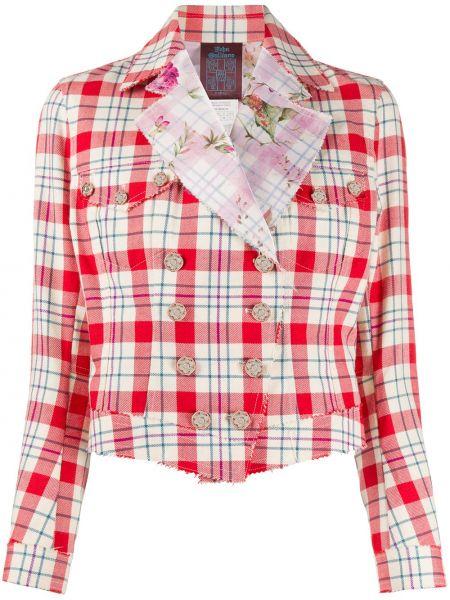 Шерстяной красный удлиненный пиджак двубортный John Galliano Pre-owned