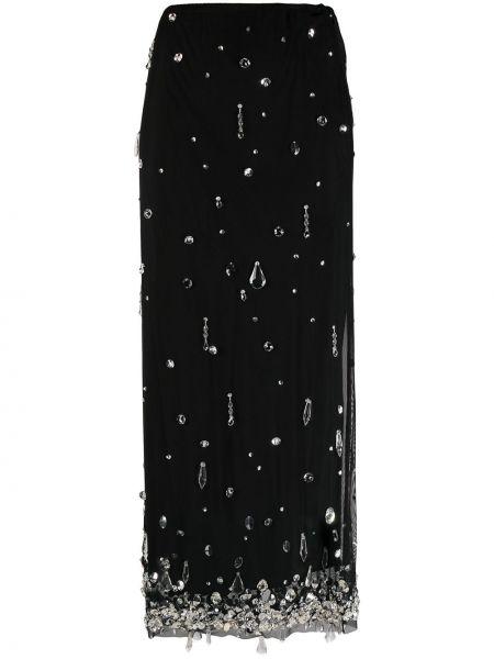 Черная юбка макси из вискозы Miu Miu