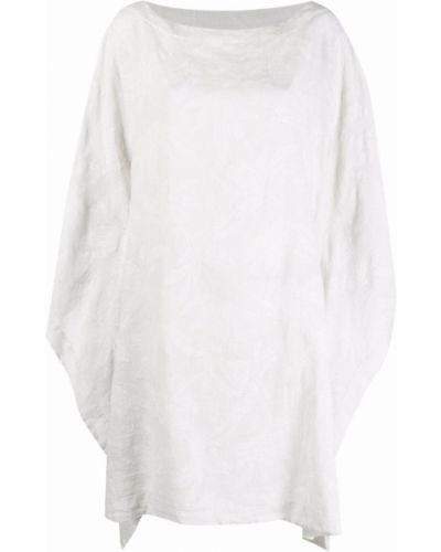 Белое платье с вырезом круглое 120% Lino