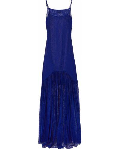 Niebieska sukienka długa koronkowa z wiskozy Akris