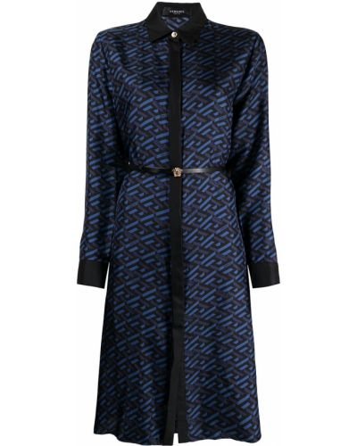 Шелковое платье макси - синее Versace