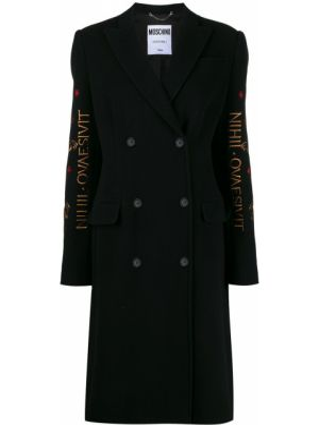 Шерстяное черное пальто с капюшоном Moschino