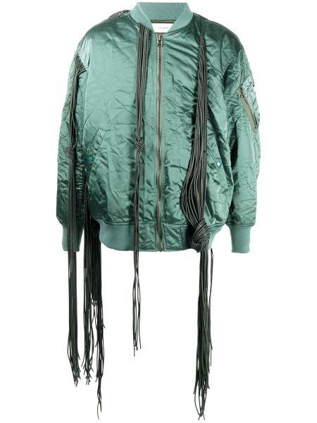 Zielona długa kurtka z frędzlami wełniana Facetasm
