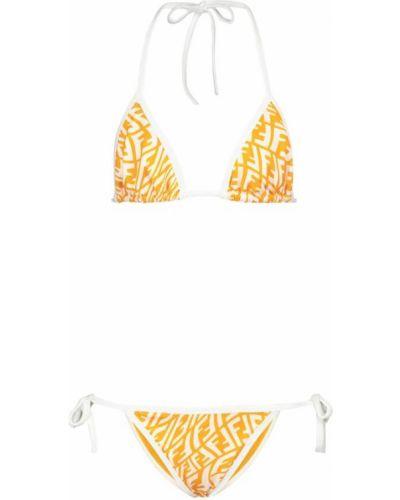 Biały bikini z printem Fendi