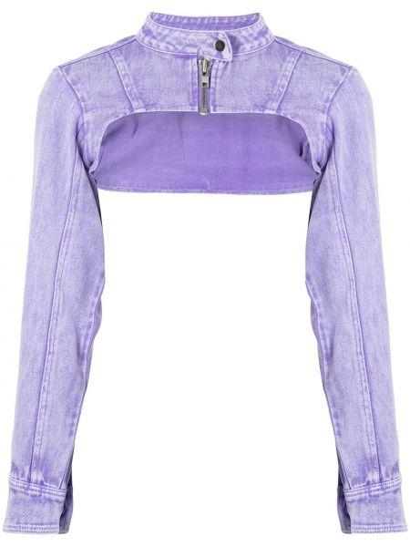 Фиолетовый удлиненный пиджак с воротником на пуговицах Ground Zero