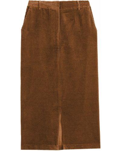 Коричневая прямая велюровая юбка макси на крючках La Redoute